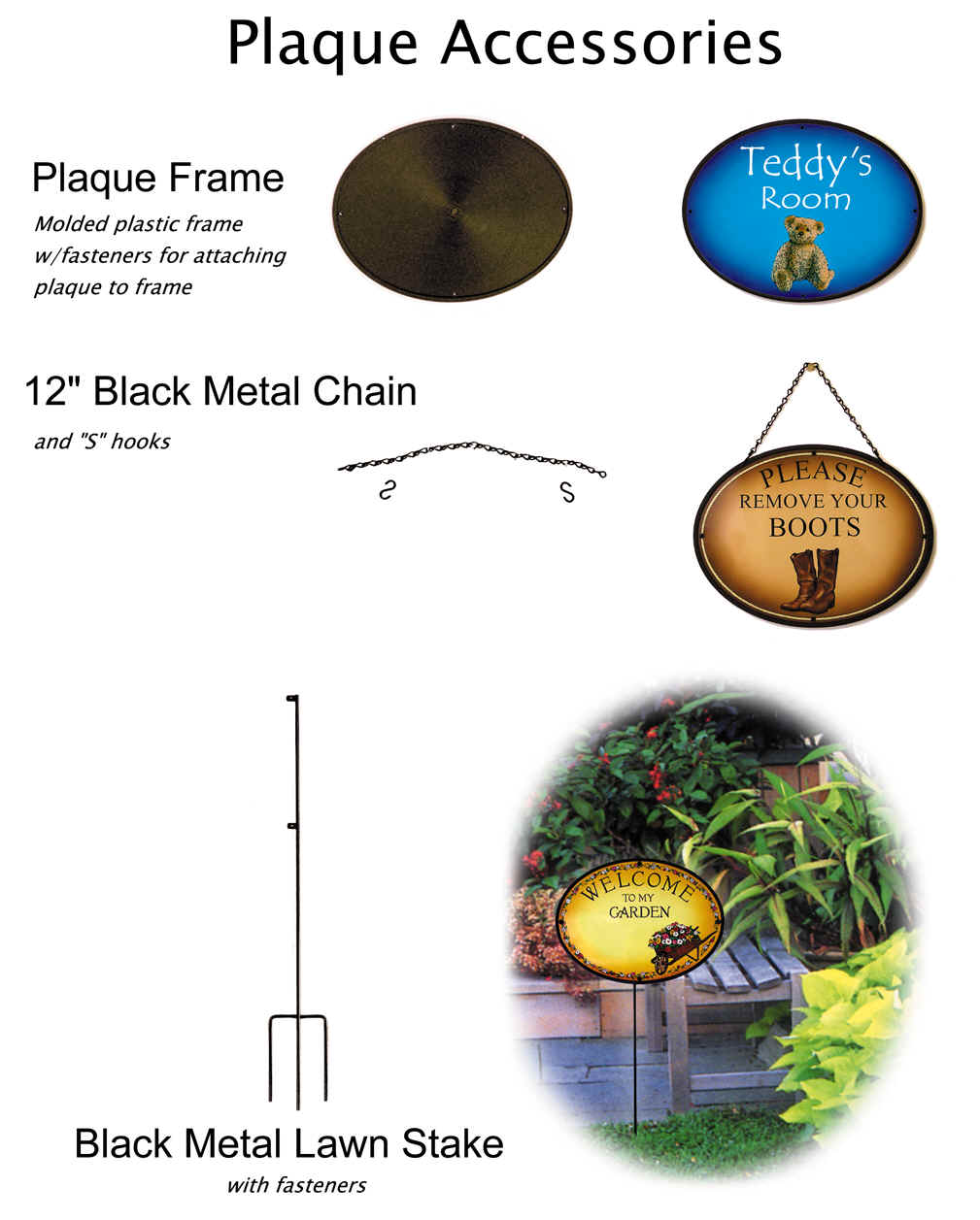 Metal plaque accessories